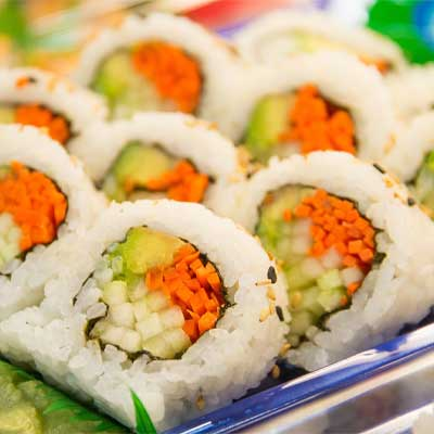 sushi with rice outside also know as California Roll